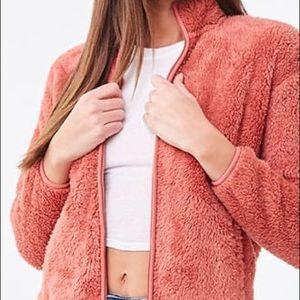 Forever 21 Mauve Fuzzy Faux Fur Jacket